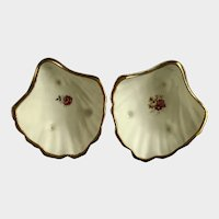 Jubilee Fine Bone China Sea Shells with Roses Footed Nut Candy Dishes England