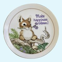 American Greetings Bunny Plate Make Happiness Bloom Fine Porcelain Lasting Memories Japan