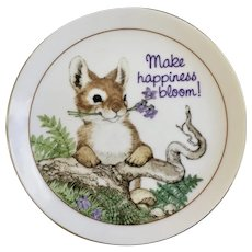American Greetings Bunny Plate Make Happiness Bloom Fine Porcelain Lasting Memories Japan