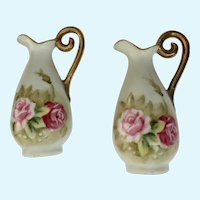 Dollhouse Miniature Ewer Pitchers Hand Painted Roses Lefton