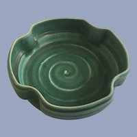 Vintage Green Pottery Clay Footed Bowl Stamped Capital H on Bottom