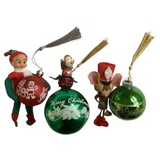 Mid-Century Christmas Glass Bulbs Angel Mouse and Elf Decorations Ornaments