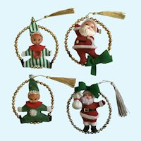 Mid-Century Christmas Ornaments Santa Clauses & Elves Gold Silver Embellishments