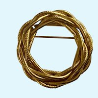 Napier Gold-Tone Twisted  Rope Design Pin Brooch