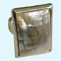 Abalone Rainbow Shell Crackle Effect Square Silver-Tone Ring Size 8