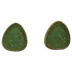 Green Faux Emerald Rock Gold-Tone Pierced Earrings
