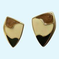 Trifari Black Cream & Brown Enamel Gold-Tone Pierced Earrings
