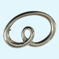 Silver-Tone Swirl Loop Large Pin Brooch