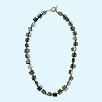 Dark Silver Rainbow Colored Glass Square Beaded Necklace 16""