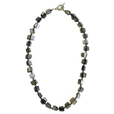 """Dark Silver Rainbow Colored Glass Square Beaded Necklace 16"""""""