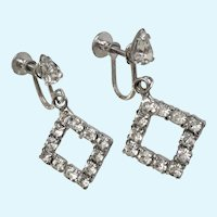 Faux Diamond Rhinestone Triangle Shaped Screw Back Earrings