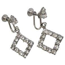 Faux Diamond Rhinestone Triangle Shaped Screw Back Earrings
