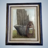 Old Coal Bucket Lantern, Watercolor Painting Works on Paper