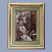 Interior Scene  of Man Smoking Cigar European Oil Painting on Board