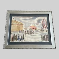 Lennartz, Figural People at County Fair Watercolor Painting