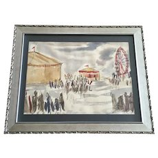 Lennartz, Figural People at County Fair Watercolor Painting Signed by Artist