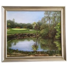 Bottomley, Golf Course Putting Green Landscape Oil Painting Signed by Artist