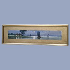 Japanese Moonlit Channel Original Watercolor Painting Signed by Artist