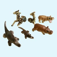 Animals Bone China Miniature Giraffes Hippopotamus Alligators Figurine Group