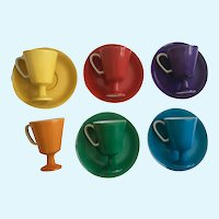 Mid-Century Modern Demitasse Footed Cups Saucers Solid Colors Ucagco Ceramics Japan