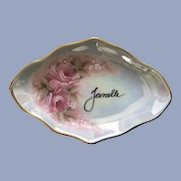 Vintage Personalized Janelle Hand Painted Pink Roses Rainbow Lusterware Porcelain Pin Tray