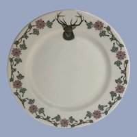 O.P. CO. Syracuse China Elk Floral Plate 10-Y #21 Ceramic Pottery