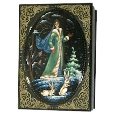 Russian Lacquer Box Hand-Painted Princess Woman with Bunnies Trinket Box Signed