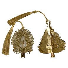 Thin Metal Christmas Tree Bell and Partridge Bird Ornaments 14K Gold Plated