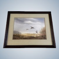R J Nelson, Watercolor Painting Pheasants Signed by Artist