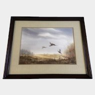 R J Nelson, Watercolor Painting, Ducks Unlimited, Ring Neck Pheasants in Flight off the Field, Original Works on Paper Signed by Artist