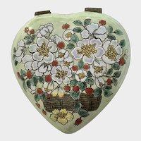 Floral Heart Hinged Trinket Box Enamel and Metal Hand Painted B. Yee