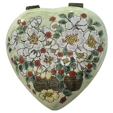 Floral Heart Hinged Trinket Box Enamel and Metal Hand Painted B. Yee
