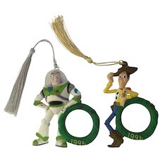 Disney Toy Story 1996 Christmas Photo Ornaments Woody and Buzz Lightyear