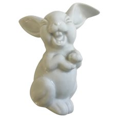 Rosenthal Max Fritz's Laughing Bunny Rabbit Discontinued All White Germany Porcelain Figurine 5-1/4 inches