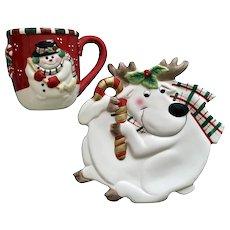 FF Fitz & Floyd Gift Gallery Christmas Snowman Mug & Reindeer Plate