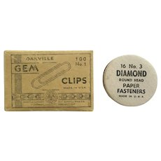 Oakville Gem and Diamond Round Paperclips and Round Head Fasteners Group