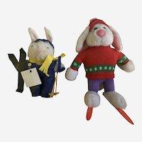 Vintage Applause Skiing Bunny Rabbit & Friend Stuffed Plush Animals Group