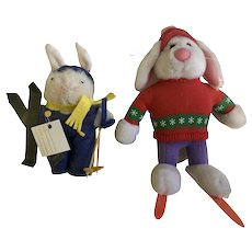 Vintage Applause Skiing Bunny Rabbit & Friend Stuffed Plush Animals Group