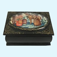 Hand Painted Winter Scene Black Lacquer Trinket Box Signed By Artist
