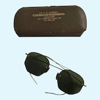 Vintage Spectacles Octagon Dark Sun Glasses with Case Los Angeles, California Steampunk