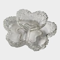 Flower Clear and Frosted Design Three Divided Condiment Serving Bowl