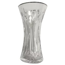 "Heavy Crystal Glass Vase 8"" Tall"
