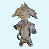 Bicorne Hat German Man Figurine Hand Painted Bisque 1940's Germany