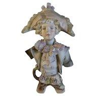 Bicorne Hat German Bisque Man Hand Painted 1940's Germany Figurine