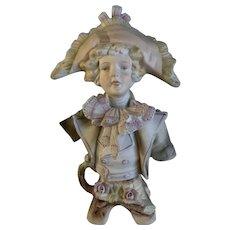 Bicorne Hat German Man Figurine Hand Painted Bisque 1940's Germany