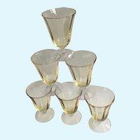 Vintage Sherry Cordials Yellow Glasses Translucent Paneled