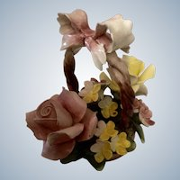 Capodimonte Italy Porcelain Figurine Flowers in a Basket Arrangement Vintage N Crown Mark