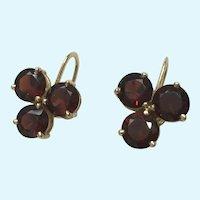 6 Garnet and 14 Karat Gold Screw Back Earrings