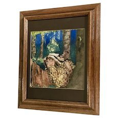 J E Mcgovern, Monk Dark Forest Original Pen and Ink Watercolor Painting