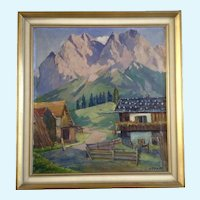 Hans Paap (1894-1966) Oil Painting Swiss Alps  Signed by Listed Taos New Mexico Artist